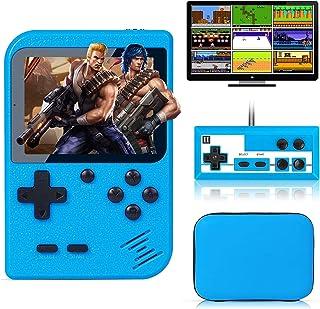 کنسول بازی دستی Tlsdosp ، 400 بازی کلاسیک FC ، ظرفیت باتری بزرگ 1020 میلی آمپر ساعت ، پشتیبانی از قابلیت شارژ و اتصال به تلویزیون برای بازی دو نفر (آبی)