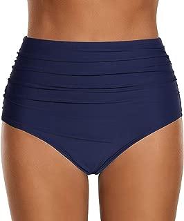 Women's High Waisted Swim Bottom Ruched Vintage Retro Bikini Swimsuit Briefs