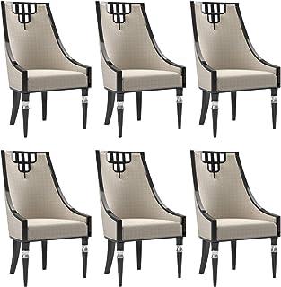 Casa Padrino Conjunto de sillas de Comedor Art Deco Beige/Negro/Plata 55 x 55 x A. 105 cm - Sillas de Cocina Noble Conjunto de 6 - Muebles de Comedor Art Deco