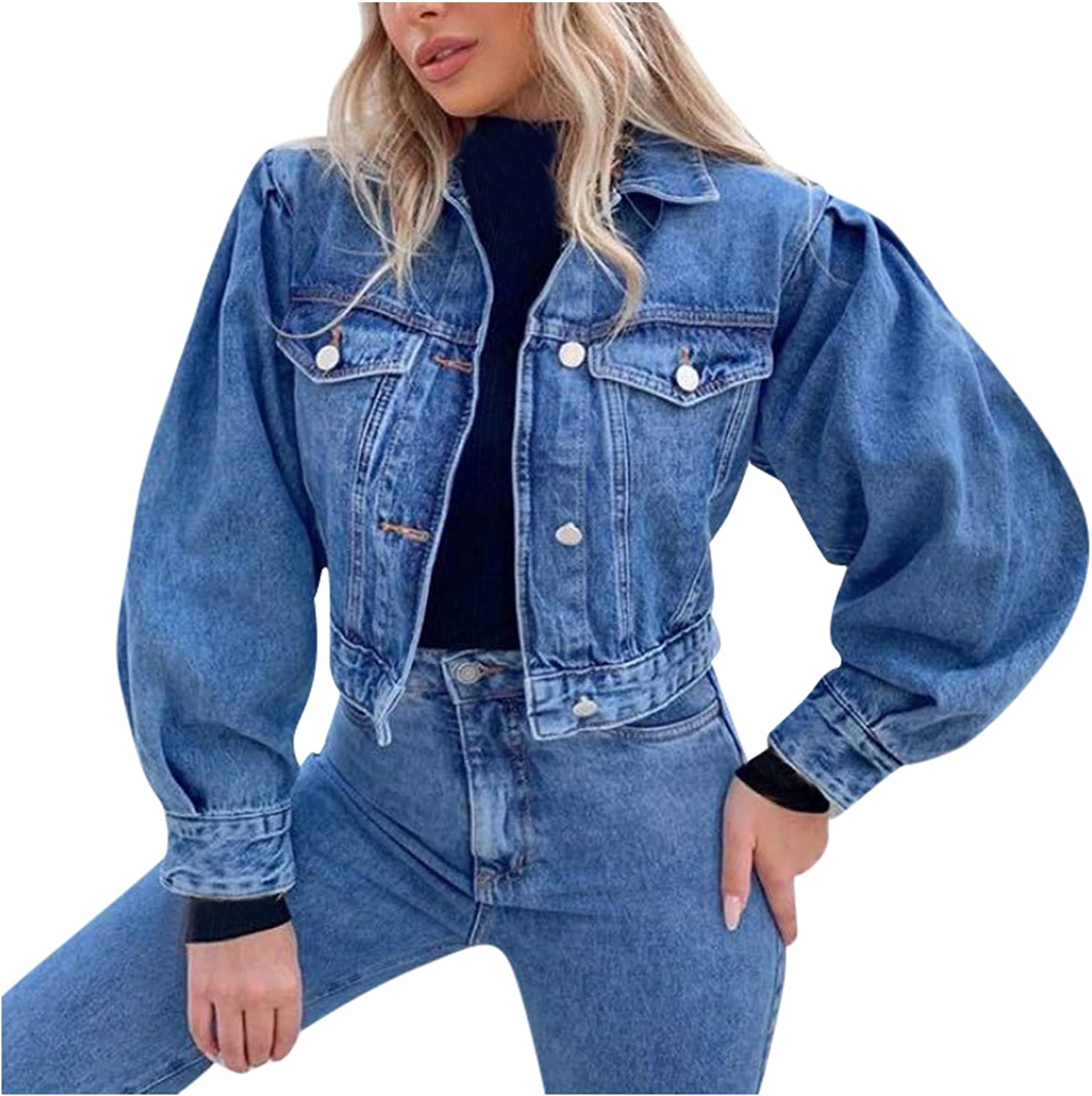 Women's Breasted Blue Denim Cardigan Max 87% Sales for sale OFF Loose Style Jacket