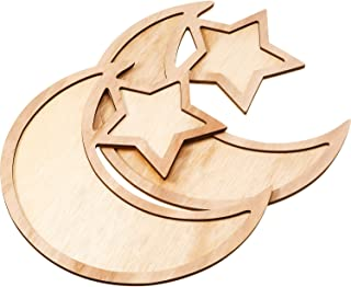WILLBOND 2 Sets Ramadan Wood Tray Moon Wooden Star Tableware Eid Mubarak Party Serving Tableware for Breakfast Dinner Dess...