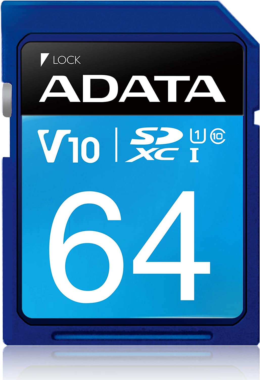ADATA Premier 64GB SDHC/SDXC UHS-I U1 Class 10 Memory Card (ASDH64GUICL10-R)