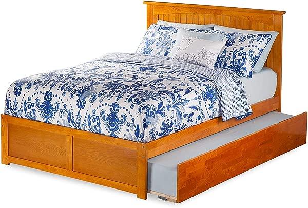 Atlantic Furniture AR8232017 Nantucket Platform Bed With Twin Size Urban Trundle Full Caramel