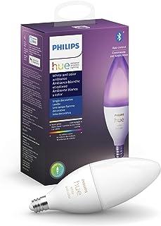 Philips Hue White & Color E12 LED Candle Light Bulb, Bluetooth & Zigbee Compatible (Hue Hub Optional), Works with Alexa & ...