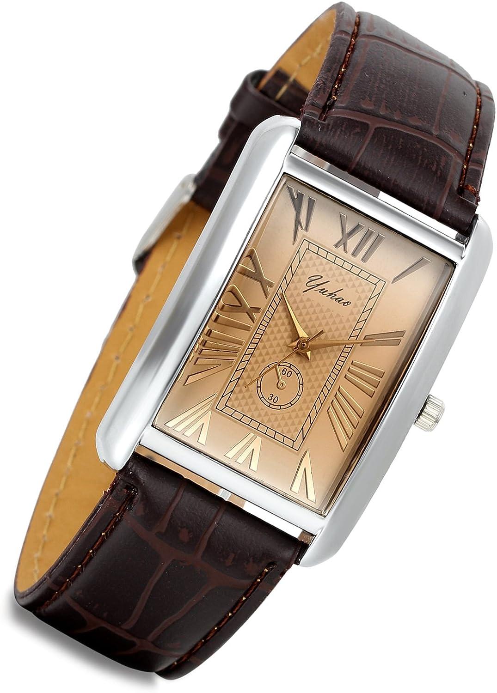 Lancardo Max 75% OFF Retro Vintage Square Quartz Inexpensive Tone Ca Analog Watch Silver