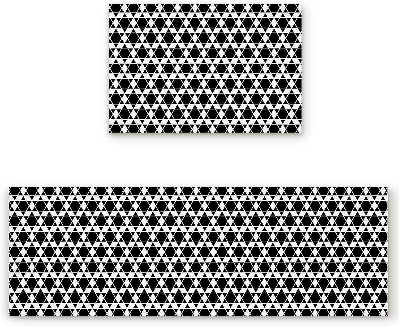 2 Pieces Kitchen Rug Set,Non-Skid Slip Washable Doormat Floor Runner Bathroom Area Rug Carpet,Hexagonal Honeycomb Beehive Simplistic Geometric Monochrome,Black and White (19.7x31.5in+19.7x63 inches)