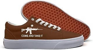 VCERTHDF Black AR-15 Come And Take It3 Print Boat Shoe Mens White