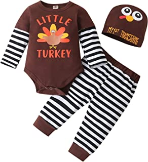 Newborn Infant Baby Boy Girl Thanksgiving Outfits My First Thanksgiving Romper Bodysuits Striped Turkey Pants Clothes Set