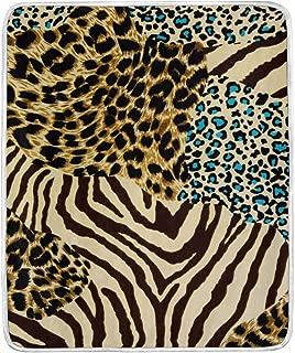 Mesllings Animal Zebra Tiger Print Velvet Plush Throw Blanket Cozy Warm Lightweight Blankets for Living Room Outdoor Travel 50x 60 inch