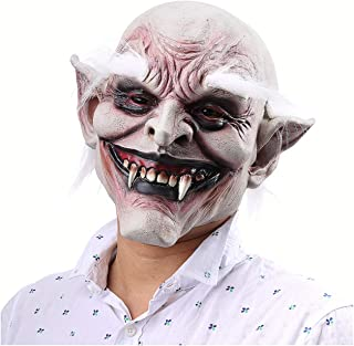 XIUHAO White-Browed Old Demon Mask, Horror Halloween Mask, Safe Silicone Image Realistic, for Halloween Masquerade Rave Party