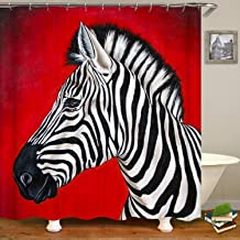 Ashasds Shower Curtain, Zebra Red Background Curtain Polyester Water Fabric with 12 Hooks,66 x 72 Inches