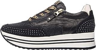 Nero Giardini A909010D Sneakers Femme en Cuir, Cuir Velours Et Toile