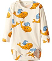 mini rodini - Whale All Over Print Long Sleeve Bodysuit (Infant)