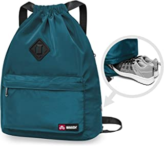 Drawstring Backpack with Shoe Pocket, String Bag Sackpack Cinch Water Resistant Nylon for Gym Shopping Sport Yoga