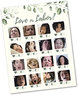 30 Love or Labor Game Cards- Baby Shower, Gender Reveal, or Bachlorette Party Supply Kit- Modern Gender Neutral Ivory Card Design- A Fun Game for Women & Men