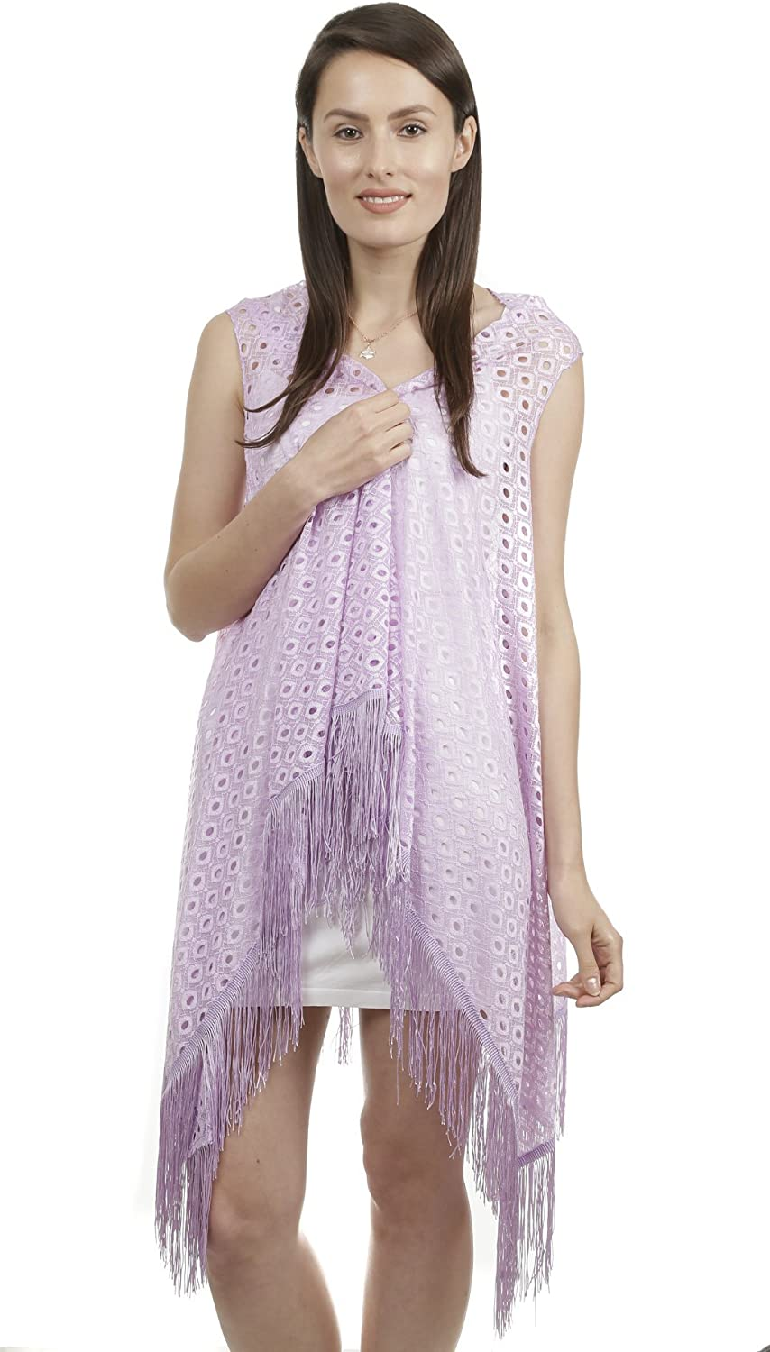 GILBIN'S Women's Assorted Colors Cut Out Fine Knit Shrug Cover Up with Fringes