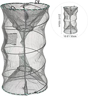 RUNACC Folded Fishing Net Trap, Portable Zipper Bait for...
