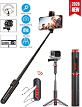 [2020 Upgraded Version] Selfie Stick&Tripod, All in One Portable &Rotatable-Compact Selfie Stick with Detachable Bluetooth Remote,Adjustable Aluminum Tripod for iPhone,Android,Digital Sports Camera