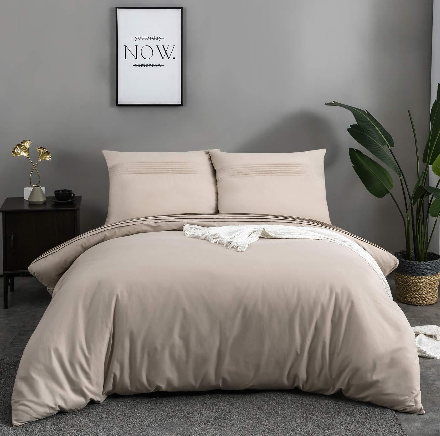 QZYI - Funda de edredón de 400 hilos/cm2, 100 % algodón, juego de cama de 220 x 240 cm de alta gama con 2 fundas de almohada de 65 x 65 cm con cremallera: Amazon.es: Hogar