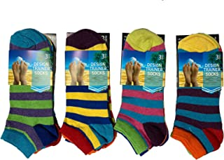 6 Pair Mens Rugby Striped Multi Coloured Breathable Trainer Qulaity Trainer Liner Ankle Socks UK Size 6-11