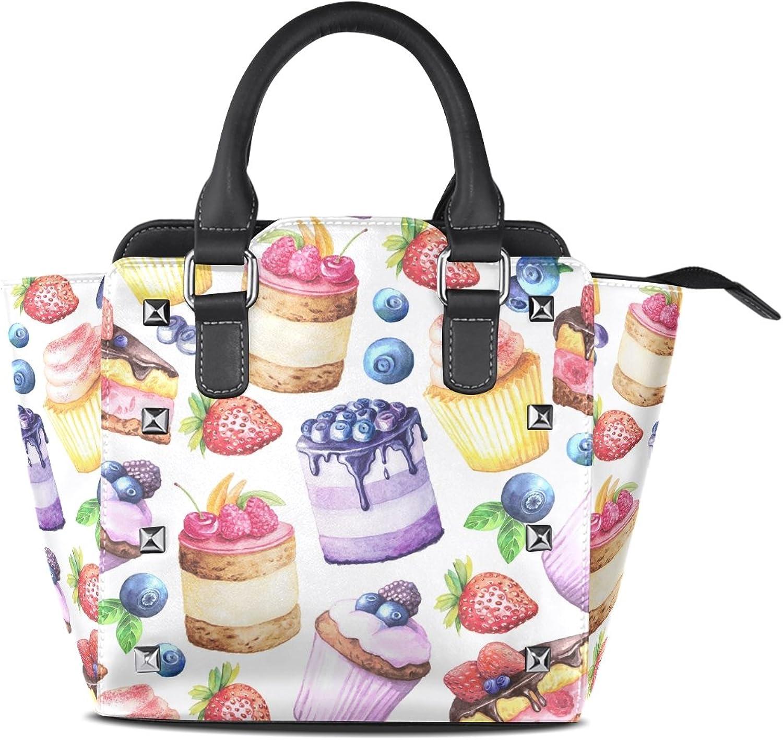 My Little Nest Women's Top Handle Satchel Handbag Watercolor Sweet Cakes Ladies PU Leather Shoulder Bag Crossbody Bag