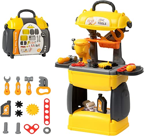 discount ROBUD Workbench for Kids Tool Bench Toy Tools Table Play Set 3 in 1 Construction Work Shop Toy online sale lowest Tool Kit Tools Preschool Toy Tool Set for Toddlers outlet sale