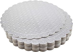 Tebery 15 Pack Round Cake Boards 10-inch Premium Silver Cake Circles Cardboard Scalloped Cake Circle Base