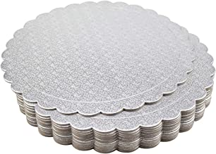 Tebery 15 Pack Round Cake Boards 10-inch Premium Silver Cake Circles Cardboard Scalloped Cake Circle Base