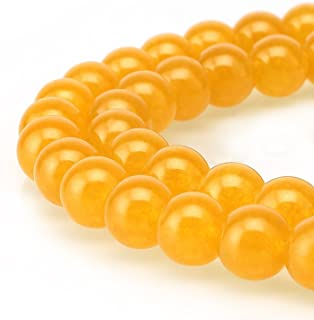 JARTC Stone Beads Yellow Jade Round Loose Beads for Jewelry Making DIY Bracelet Necklace (8mm)