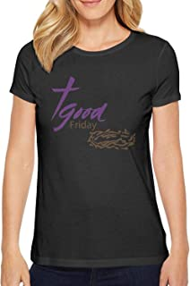 Milr Gile Women's Happy Good Friday Round Neck T-Shirts,Summer Casual Short Sleeve Tee