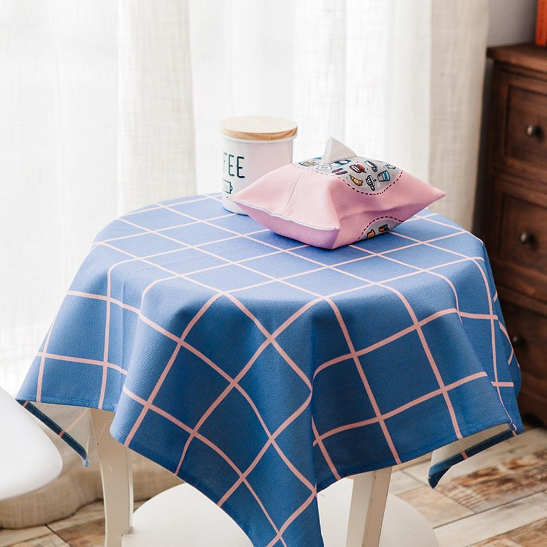 BATSDCB Résistance à Hautes températures Coton Lin Nappes, épaissir à Manger Coffee Table Housse de Table, MultiCouleur-Treillis 140x140cm(55x55inch)