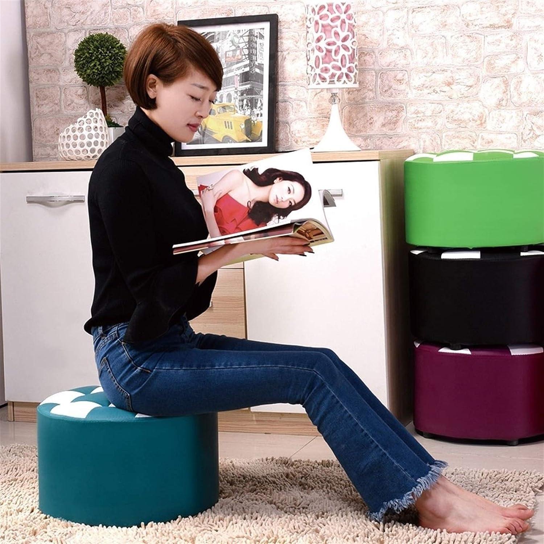 Round Chaise Sofa Repose-Pieds Meubles Ottomans Home Décor Banc avec Tabouret Dressing sièges en Cuir D1110 (Color : Red) Blue
