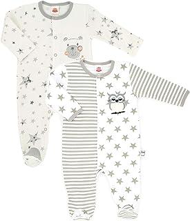 Makoma Baby Schlafstrampler mit Fuß 2er Set Strampler für Jungen und Mädchen Overall -Eule & Teddy-