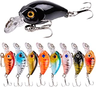 9pcs Fishing Crank Swimbait Lures Crankbait Hard Baits Jigs Combo for Bass Trout Freshwater Saltwater Topwater Shallow Dee...