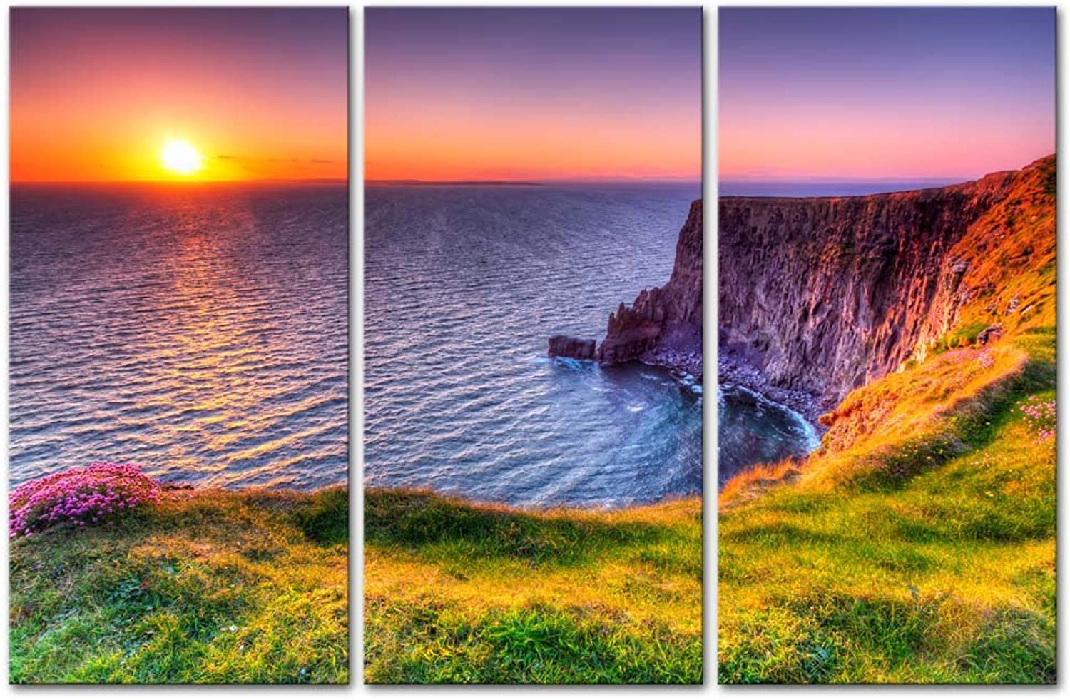 Wall Art Decor Poster Painting On Canvas Print Pictures 3 Pieces Destination Cliffs Of Moher Beach At Sunset Doolin County Clare Ireland Seascape Sunrise Framed Picture For Home Decoration Living Room Artwork