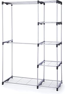 Type A Sturdy Closet Organizer | Freestanding Closet System with Shelves & Rods to Organize & Store Your Wardrobe and Garments | 5 Shelves & 3 Hanging Rods, Black |