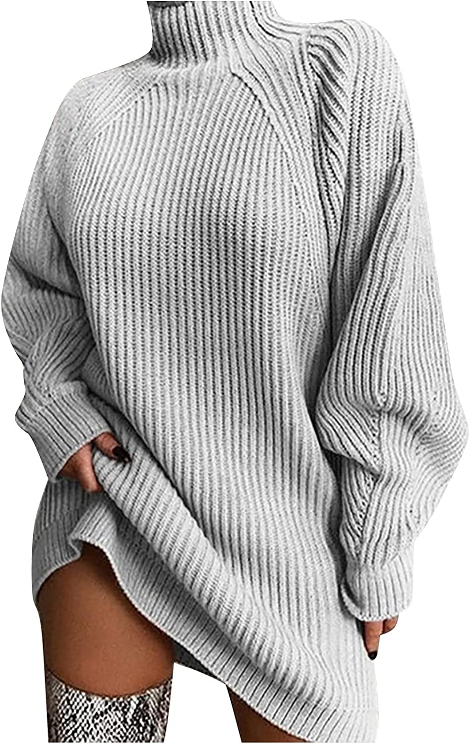 Womens Sweaters Solid Color Turtleneck Jumper Casual Long Sleeve Knitwear Lantern Sleeve Loose Pullover