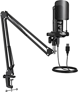USB Microphone with Mic Gain, MAONO AU-PM461S Podcast PC Computer Condenser Mic for Recording, Gaming, Streaming, Voice Over, YouTube, Twitch, Skype, Compatible with Mac Laptop Desktop