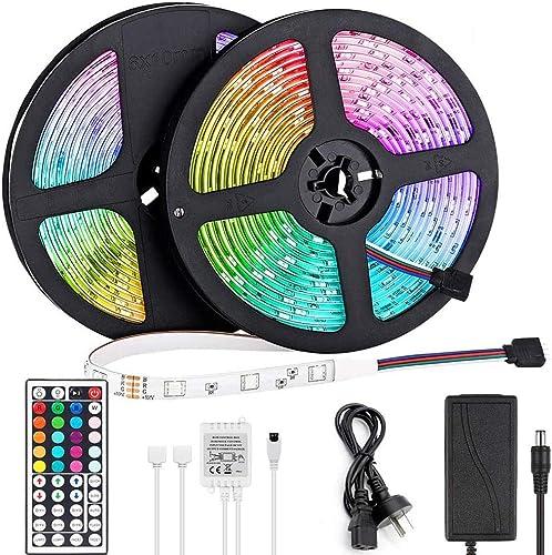 LED Light Strip 10m, Renovo LED Strip 32.8ft 300LEDs 5050SMD RGB LED Strip Lights with Remote Control and Power Suppl...