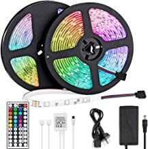LED Light Strip 10m, Renovo LED Strip 32.8ft 300LEDs 5050SMD RGB LED Strip Lights with Remote Control and Power Supply for...