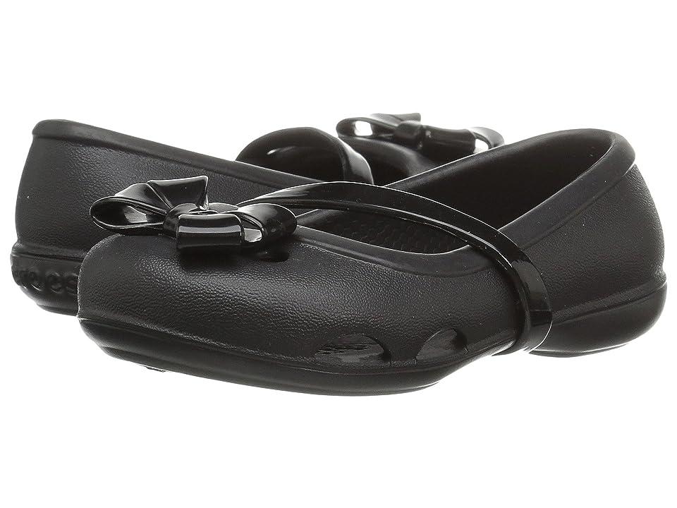 Crocs Kids Lina Flat (Toddler/Little Kid) (Black) Girls Shoes