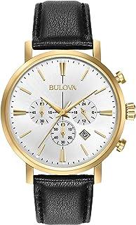 Bulova - Reloj analógico de cuarzo para hombre con correa de piel de cocodrilo 97B155