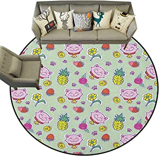 Kids,Vintage Rugs Cheerful Pattern with Smiling Cats Pineapples Strawberries Maneki Neko Happiness Love D36 Circle Rugs for Living Room