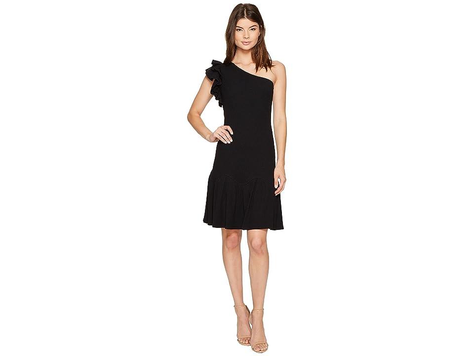 Rebecca Taylor One Shoulder Rib Jersey Dress (Black) Women