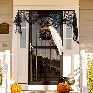 Ofocam Halloween Party Decoration Spider Web Cobweb Runner Fireplace Scarf Lace SpiderWeb Mantle Door Decor 18