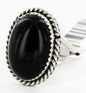$130Tag Silver Certified Navajo Natural Onyx Oval Native American Ring 16998-2 Made by Loma Siiva