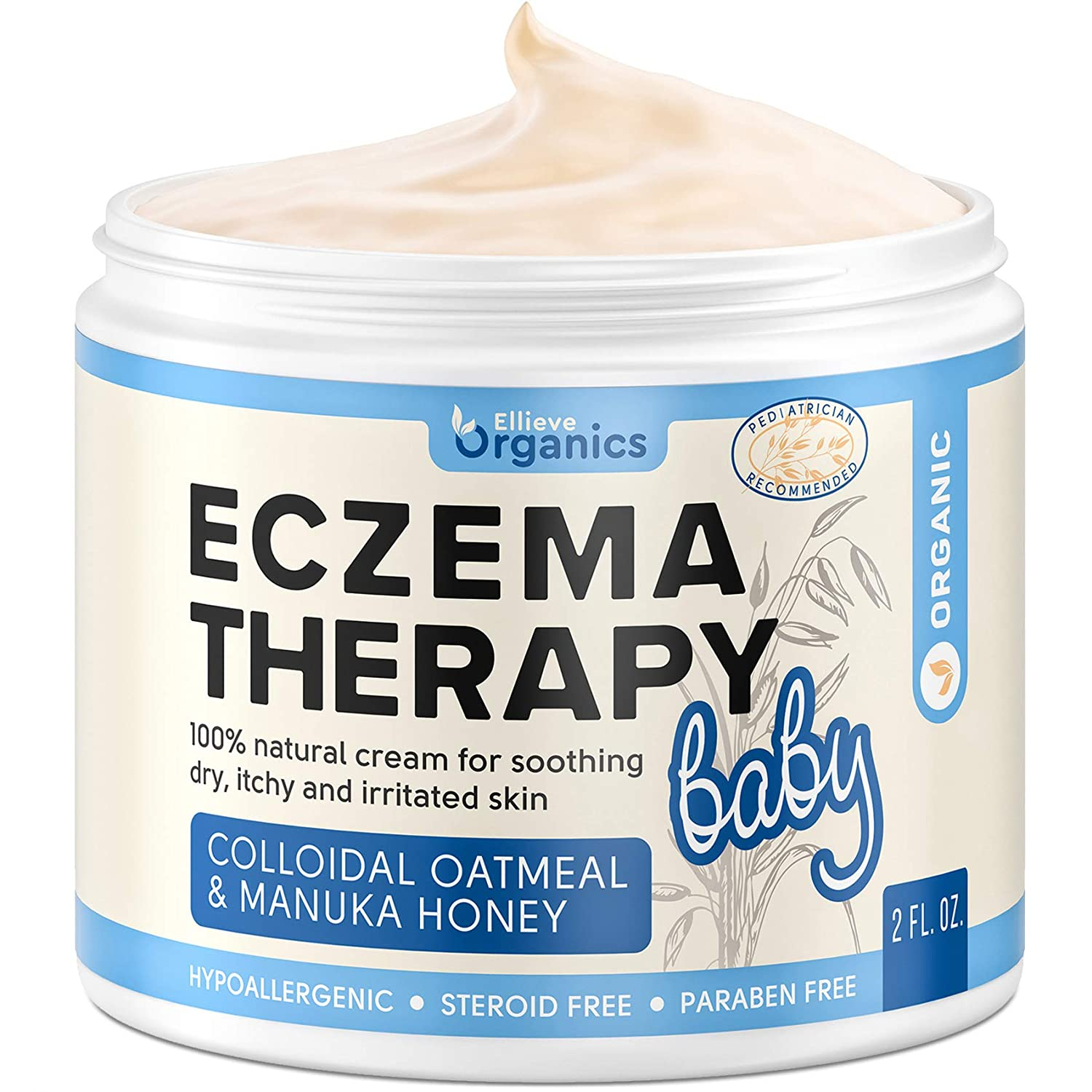 Eczema Relief Cream for Baby - Made in USA - Natural Moisturizing Cream with Colloidal Oatmeal & Potent Manunka Honey for Baby Eczema Therapy - Hypoallergenic Cream for Rash, Dry Skin & Eczema