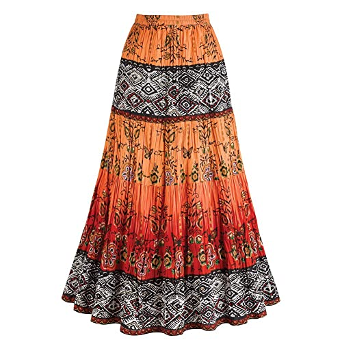 9ce23fd340 CATALOG CLASSICS Women's Crinkle Broom Skirt - Chesca Coral Orange & Red  Tribal Pattern - XL