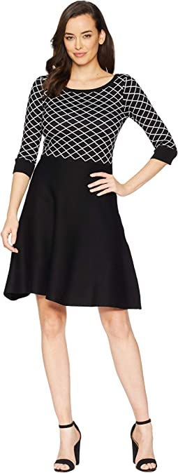 Diamond Print Fit & Flare Sweater Dress
