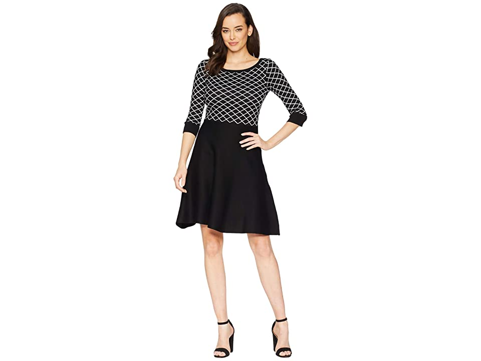 Gabby Skye Diamond Print Fit Flare Sweater Dress (Black/Ivory) Women
